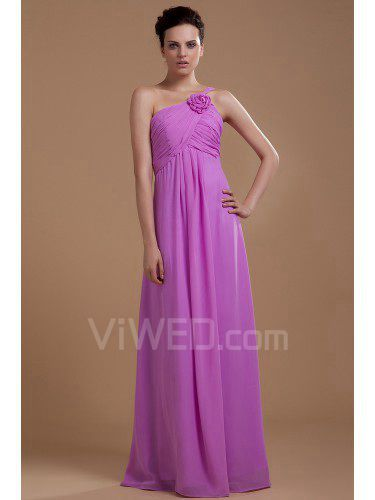 b6b215049d5 Chiffon én-skulder gulv længde kolonne brudepige kjole med flæse ...