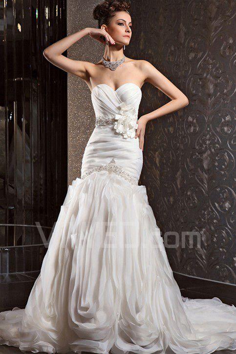 7c9db823a319 Chiffon kjæreste kapell tog havfrue brudekjole med krystall 002264