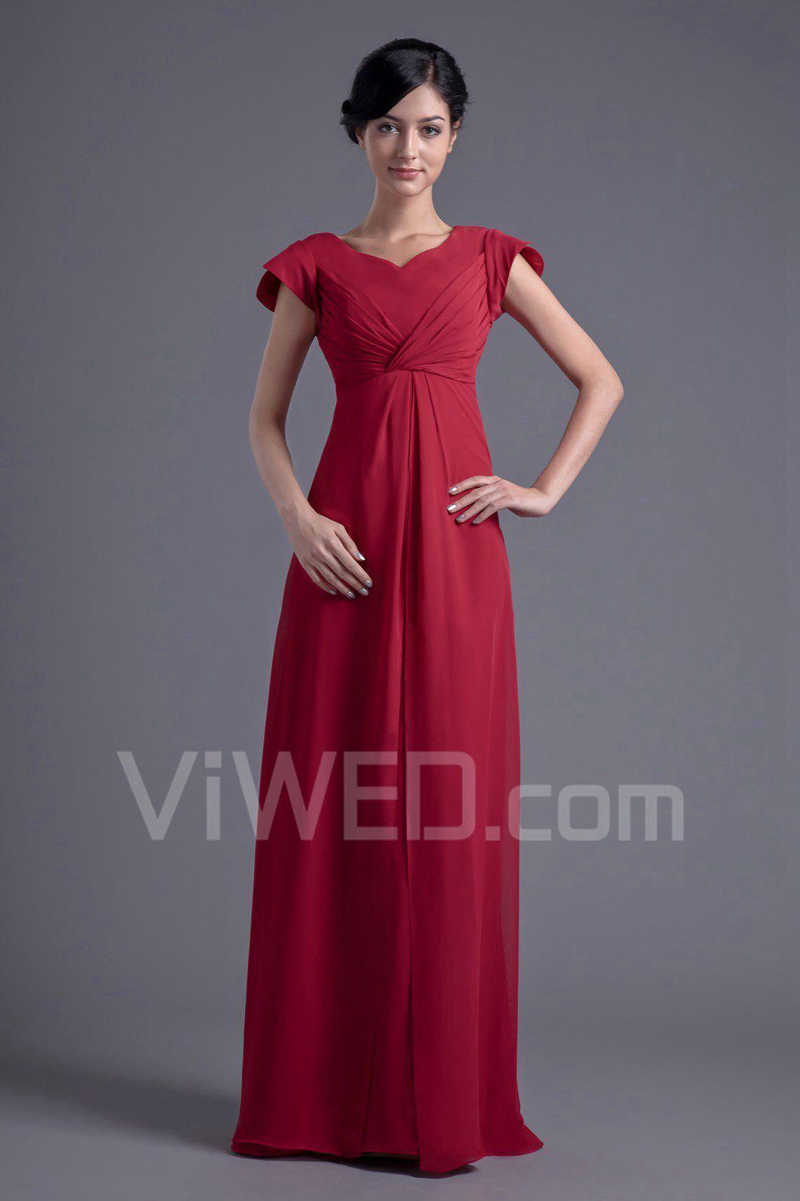 bd799ef3 2018 Szyfon v-dekolt linia empire rękawy cap piętro długość suknia ...
