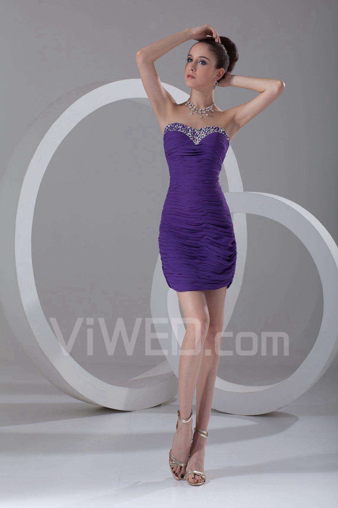 b942507dc1f Chiffon kæreste kort kappe retningsbestemt ruched cocktail kjole#00547
